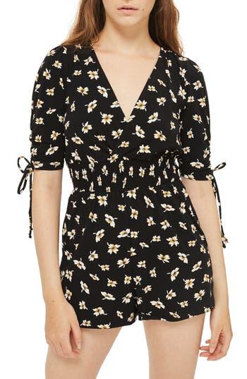 Women's Topshop Tie Sleeve Floral Romper, Size 2 US (fits like 0) - Black