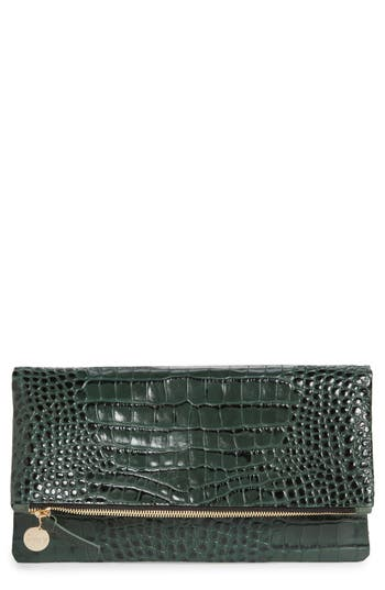 Clare V. Croc Embossed Leather Foldover Clutch - Green