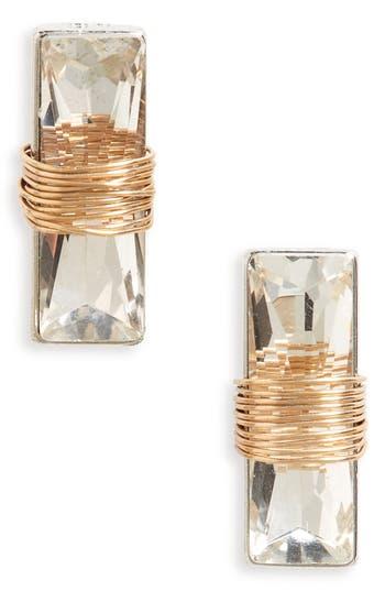 Women's Bp. Wire Wrap Crystal Stud Earrings