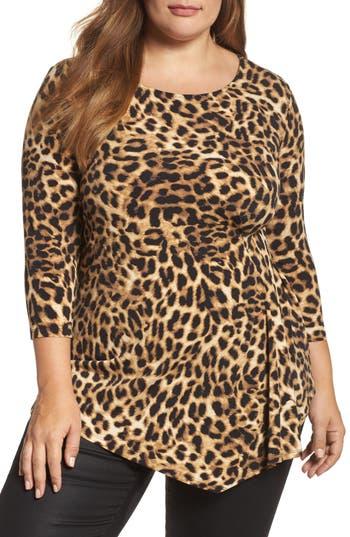 Plus Size Women's Vince Camuto Side Pleat Leopard Print Top