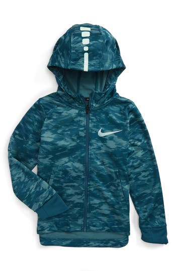 Boy's Nike Elite Therma Zip Hoodie, Size 4 - Blue