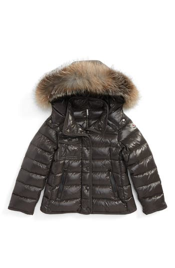 Girl's Moncler Armoise Hooded Jacket With Genuine Fox Fur Trim