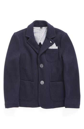 Boy's Armani Junior Knit Blazer With Pocket Square