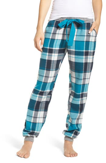 Women's Make + Model Flannel Lounge Pants, Size X-Small - Blue/green
