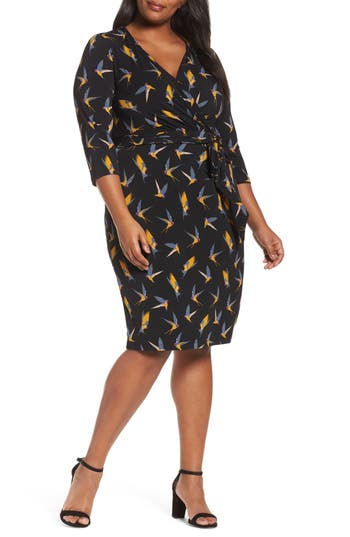 Plus Size Women's Adrianna Papell Print Wrap Dress, Size 1X - Black