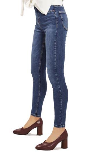 Women's Topshop Indigo High Waist Skinny Jeans