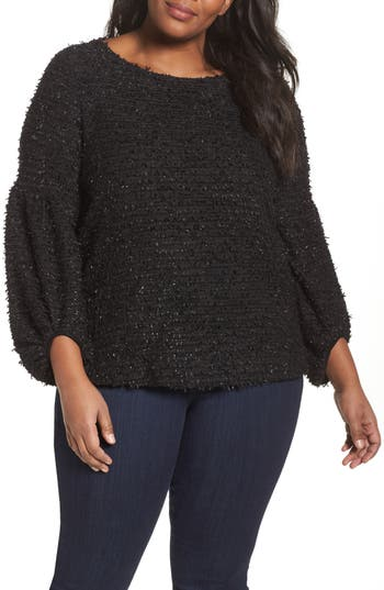 Plus Size Women's Vince Camuto Eyelash Knit Bubble Sleeve Sweater, Size 1X - Black