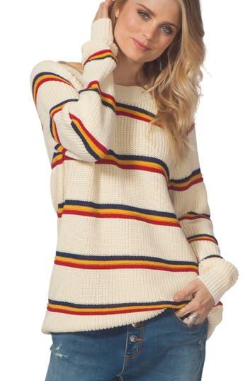 Women's Rip Curl Raine Stripe Sweater, Size Large - White