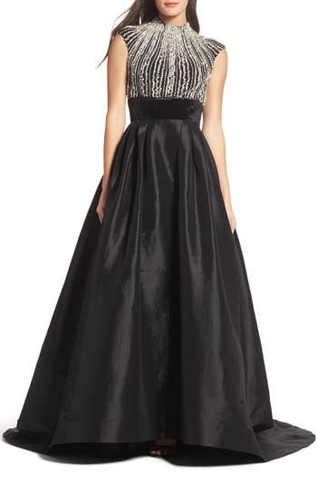 MAC Duggal Crystal & Satin Ballgown, Black