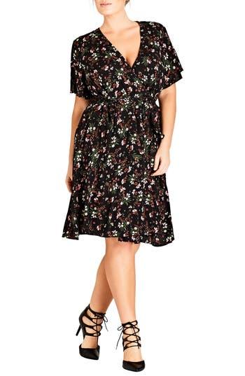 Plus Size Women's City Chic Pretty Floral Wrap Dress, Size Medium - Black