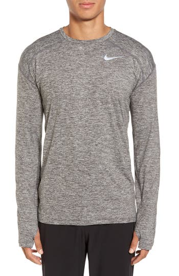 Nike Running Dry Element Long Sleeve T-Shirt, Grey