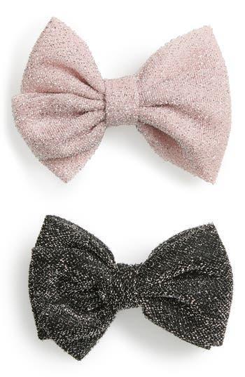 Plh Bows & Laces Set Of 2 Glitter Bows, Size 0-24 M - Black