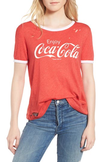 Women's Wildfox Coca Cola Ringer Tee, Size XX-Small - Red