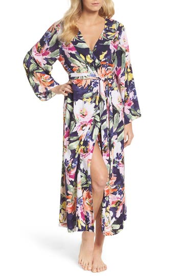 Women's Plum Pretty Sugar Long Floral Kimono Robe, Size Small - Blue