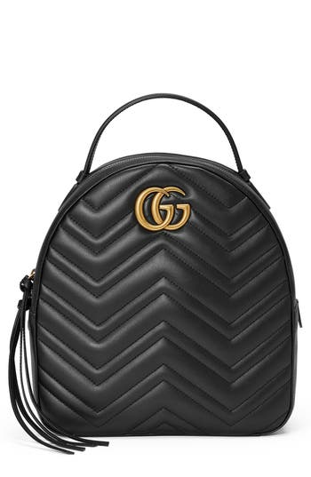 Gg Marmont Matelasse Quilted Leather Backpack - Red, Hibiscus Red