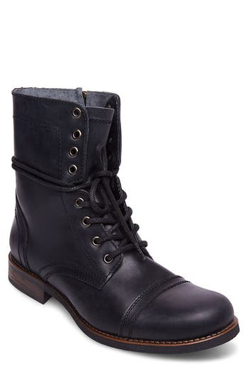 Mens Vintage Style Shoes| Retro Classic Shoes Mens Steve Madden Troopah-C Cap Toe Boot Size 13 M - Black $130.00 AT vintagedancer.com