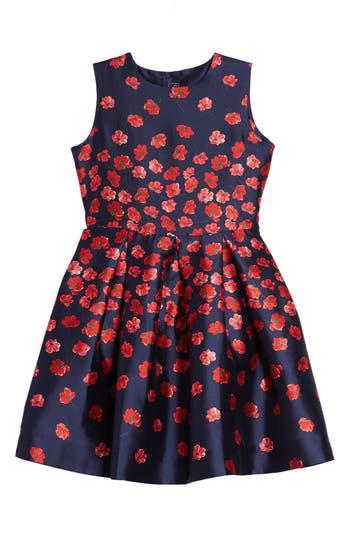 Girl's Oscar De La Renta Poppies Mikado Party Dress