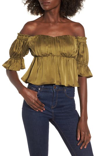 Stone Cold Fox MONTE OFF THE SHOULDER SILK TOP