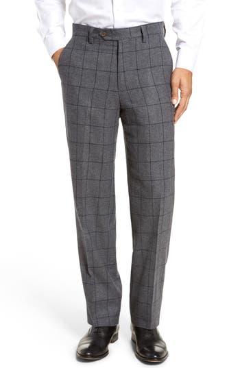 Men's Berle Flat Front Windowpane Wool Blend Trousers, Size 34 - Grey