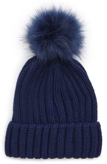 Women's Bp. Faux Fur Pompom Beanie - Blue