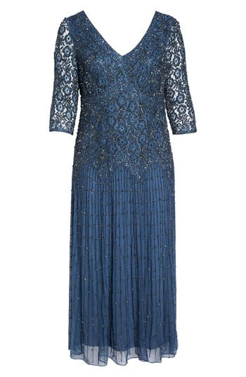 Plus Size Vintage Dresses, Plus Size Retro Dresses Plus Size Womens Pisarro Nights Beaded V-Neck Lace Illusion Gown Size 18W - Blue $238.00 AT vintagedancer.com