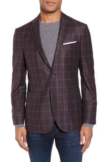 Men's Strong Suit Vantage Trim Fit Windowpane Wool Sport Coat, Size 36 R - Purple