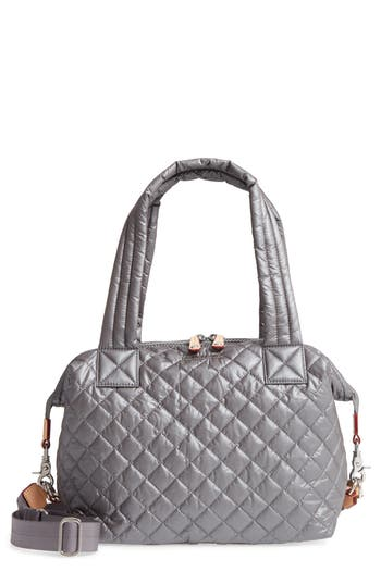 Mz Wallace 'Medium Sutton' Quilted Oxford Nylon Shoulder Tote - Grey
