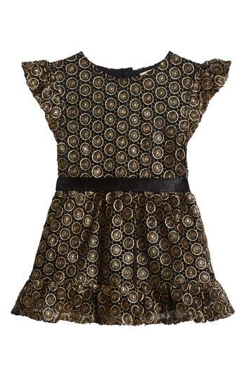 Girl's Peek Metallic Lace Dress