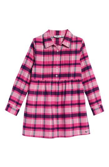 Girl's Vineyard Vines Plaid Flannel Shirt Dress, Size 5 - Pink