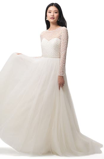 50s Wedding Dress, 1950s Style Wedding Dresses, Rockabilly Weddings Womens Jenny Yoo Gigi Embellished Tulle Top $275.00 AT vintagedancer.com