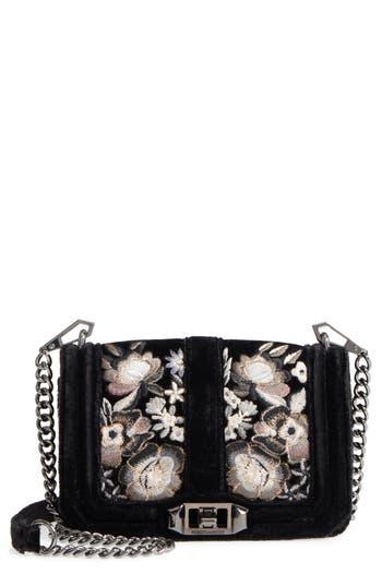 Rebecca Minkoff Crossbody bags SMALL LOVE FLORAL EMBROIDERY VELVET CROSSBODY BAG - BLACK