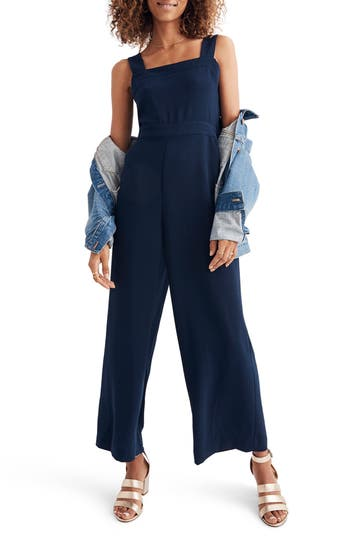 Madewell Apron Bow Back Jumpsuit In Rich Plum Modesens