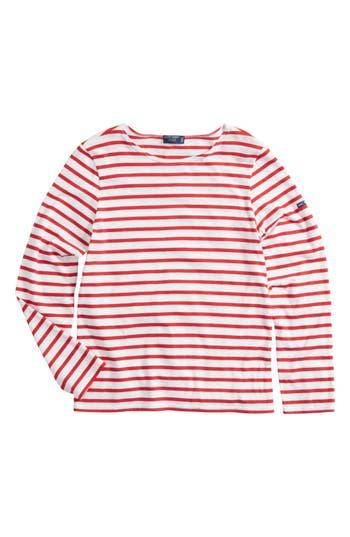 1940s Style Dresses | 40s Dress, Swing Dress Saint James Minquiers Moderne Striped Sailor Shirt Size Medium - Red $75.00 AT vintagedancer.com