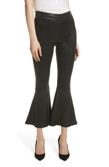 Frame Flounce Crop Flare Leather Pants, Black
