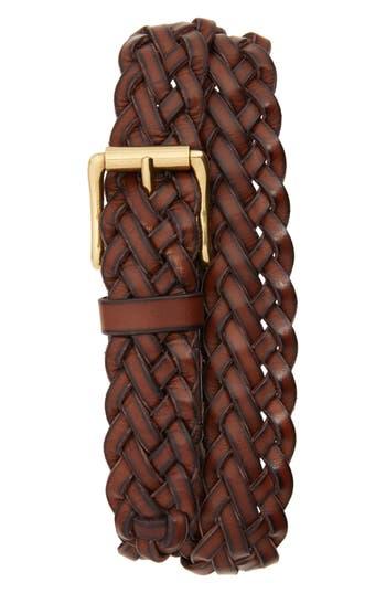Frye Woven Leather Belt, Brown