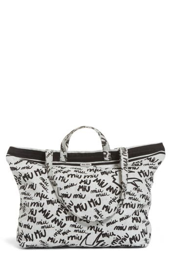 Miu Miu  LOGO PRINT DENIM TOTE - RED
