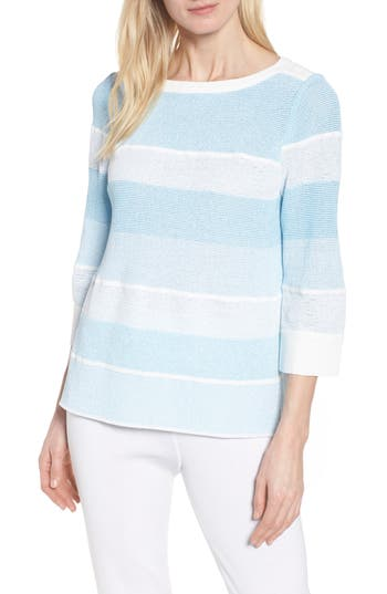 Ming Wang Bow Back Stripe Sweater, Blue