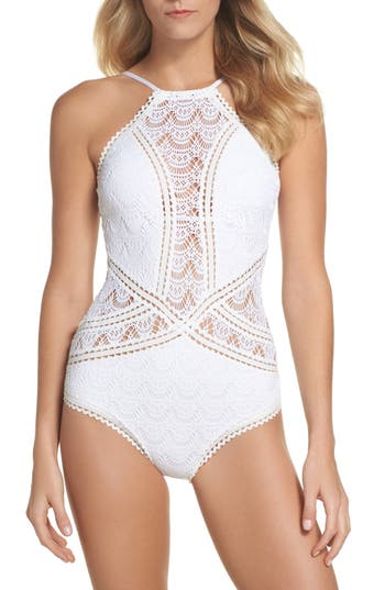 Becca Crochet One-Piece Swimsuit, White