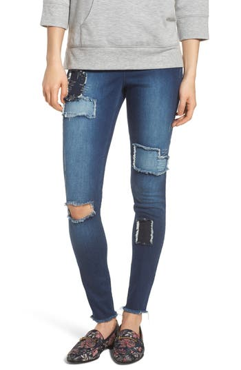 Zeza B By Hue High Waist Distressed Denim Leggings, Blue