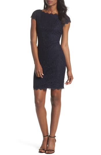 Eliza J Cap Sleeve Lace Sheath Dress, Blue
