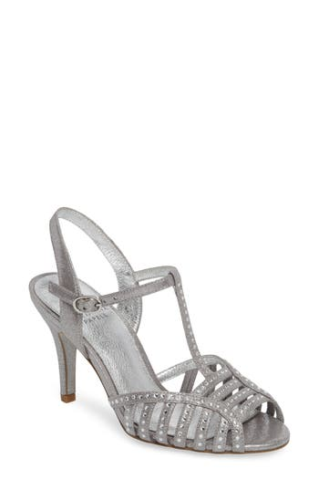 Vintage Inspired Wedding Dress | Vintage Style Wedding Dresses Womens Adrianna Papell Faith T-Strap Sandal Size 11 M - Metallic $139.95 AT vintagedancer.com
