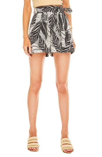 Jayden Tropical Print Flare Shorts in Multi