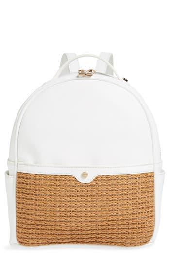 Mali + Lili Harper Lili Basket Weave Backpack - White