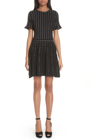 Oscar De La Renta Embroidered Knit Dress, Black