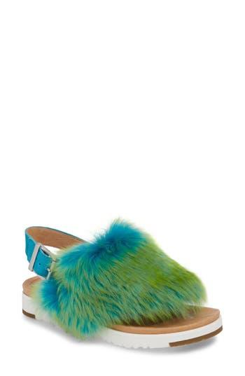 Women's Ugg Holly Genuine Shearling Sandal, Size 8.5 M - Blue