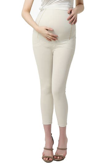 Kimi And Kai Tia Cropped Denim Maternity Leggings, Beige