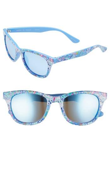 Lilly Pulitzer Maddie 52Mm Polarized Mirrored Sunglasses - Fantasy Garden/ Aqua