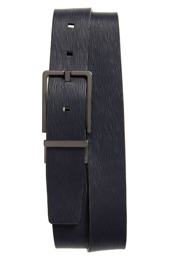 Calvin Klein Saffiano Leather Belt, Navy