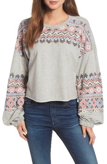 Kas New York Embroidered Beaded Sweatshirt, Grey