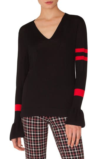 Akris Punto Stripe Wool Bell Sleeve Sweater, Black